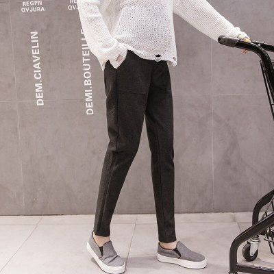 Thin Woolen Fabric Spring And Autumn Trousers For Pregnant Women High Waist Pocket Pants Women Classic Maternity Pants