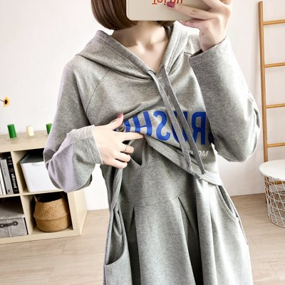 Autumn Cotton Hoodie Postpartum Wear Breastfeeding Clothes Maternity Sweatshirt