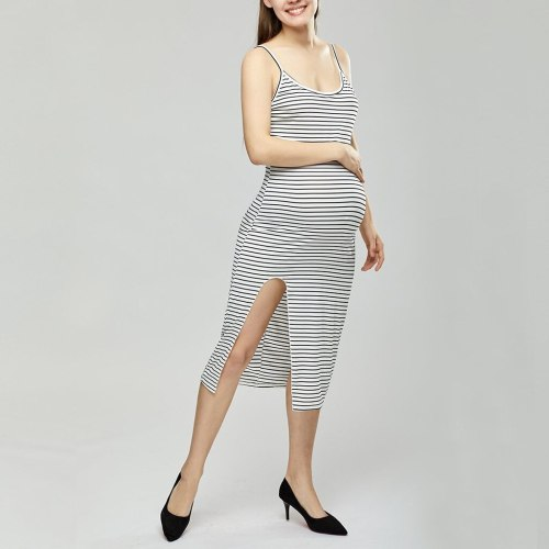 Maternity Sleeveless Striped Print Breastfeeding sleeveless Sundress Pregnancy Dress