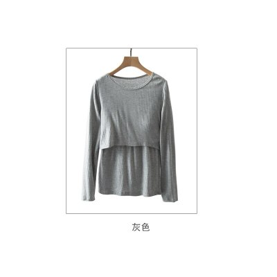 Long-Sleeved Cotton Home Shirt For Feeding Solid Color O-neck Pregnancy T shirt