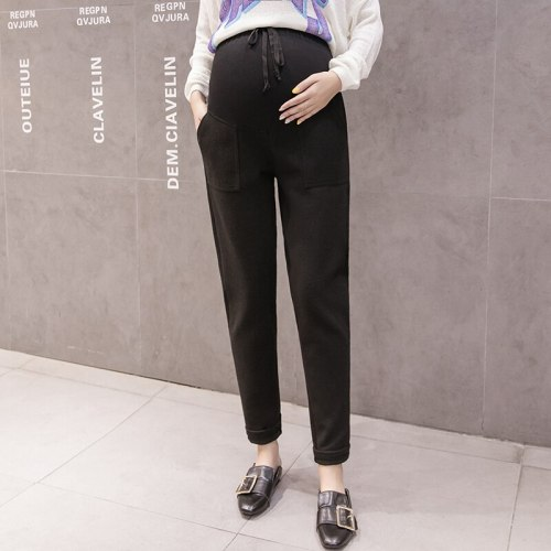 Thin Woolen Fabric High Waist Pocket Pants Women Classic Maternity Pants