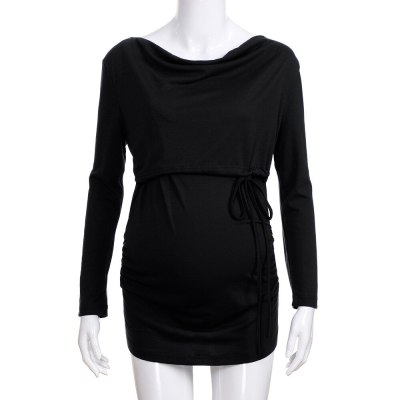 Women Pregnant  Long Sleeve Maternity Breastfeed Top Lace Up Double Layer Blouse feeding top breastfeeding top tee shirt