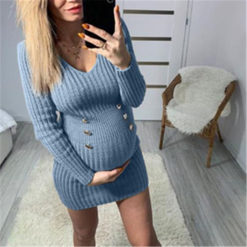 V-neck Long Sweater Women's Knitted Maternity Wear All-match Warm Loose Casual New Fashion Autumn Sweater Multicolor Ladies Top