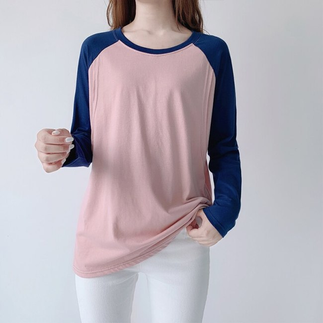 Raglan Sleeve Stitching Color Long-sleeved Nursing T-shirt Cotton Postpartum Home Clothes Top For Feeding Maternity Tops