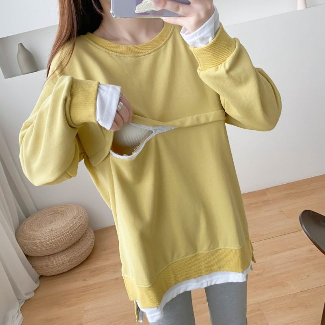 Solid Yellow Red Pure Cotton O-neck Pullover Breastfeeding Sweaters Splicing Bottom Edge Fake Two Pieces Autumn Hoodies