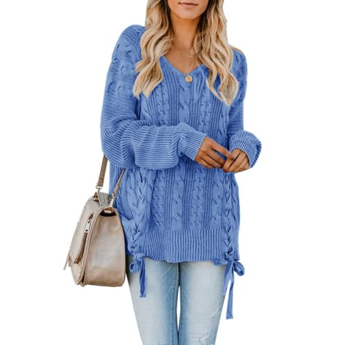 S-XL Fashion New Autumn Winter V-Neck Long-sleeved Sweater Twist  Knitting Tie Solid Casual Solid Sweater Lady Tops for Women