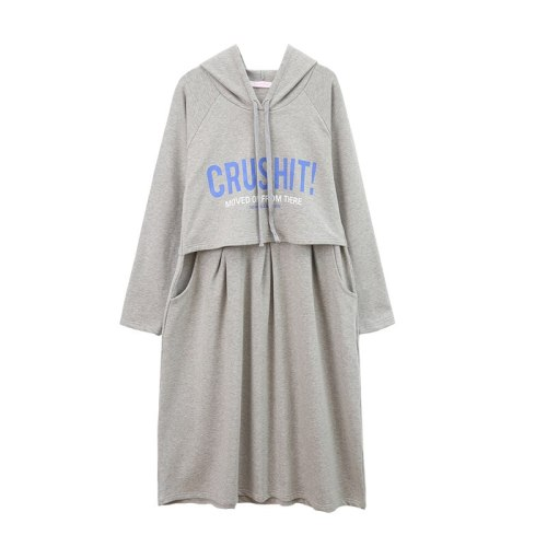 Autumn Clothing Long Maternity Dress Pure Cotton Hoodie Postpartum Wear Breastfeeding Clothes Maternity Sweatshirt