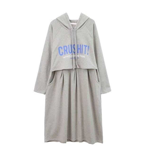 Autumn Clothing Long Maternity Dress Pure Cotton Hoodie Postpartum Wear Breastfeeding Clothes Maternity Sweatshirt