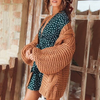 Women Fall Winter 2020 Casual Solid Lantern Sleeve Plus Size Sweater Cardigan Knitted Coats