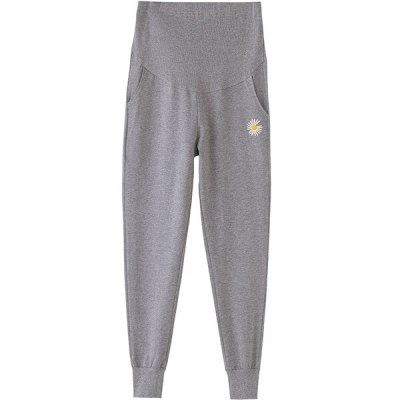 Daisy Embroidery Casual Sweatpants Pocket High Waist Pants Pregnant Women Classic Sports Pants