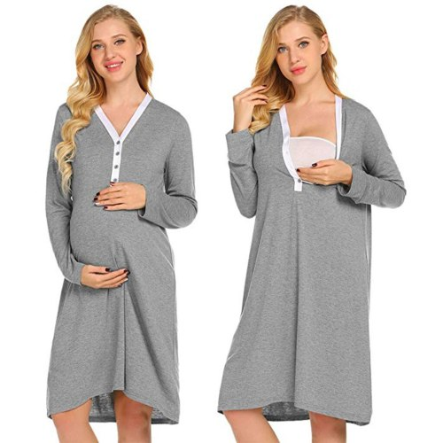 Maternity Nursing Robe Delivery Nightgowns Hospital Breastfeeding Gown Dress  womens clothing maternity gown breastfeeding dress