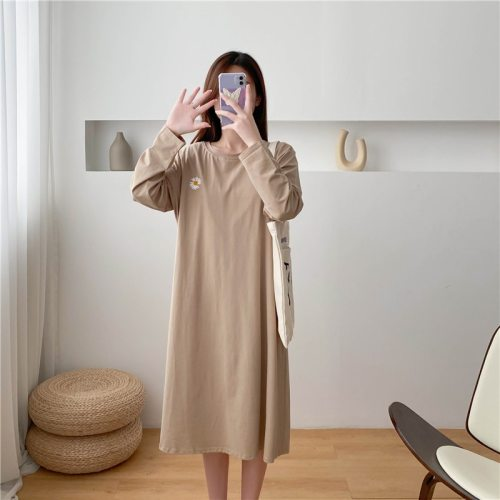 Hot Seller Daisy Embroidered Long Sleeve T-shirt Dresses Solid Color Breastfeeding Clothes For Plus Size Pregnant Women