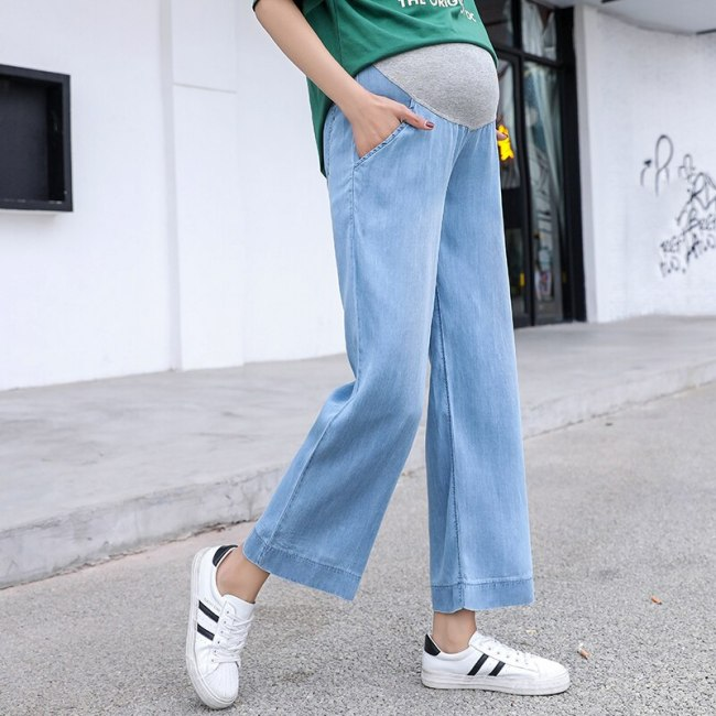 Pregnancy Jeans  Straight Leg Pants Elastic Waist For Maternity Wear Summer Breathable Thin Pants