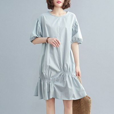 Solid Color Plus-size Loose Irregular Pleated Short Sleeve Maternity Dress