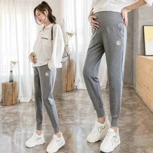 Daisy Embroidery Casual Sweatpants Pocket High Waist Pants Pregnant Women Classic Sports Pants