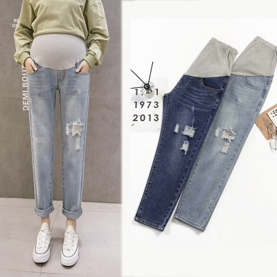 Cowboy Autumn Fashion Ripped Trousers High Waist Pocket Rags Maternity Jeans