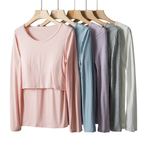 Long-Sleeved Cotton Home Shirt For Feeding Soild Color O-neck Pregnancy T shirt With Nursing Pad Maternity Clothes
