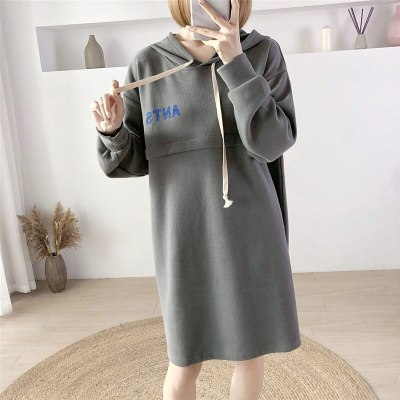 Fall Winter Hooded Sweater Cross-open Invisible Zipper Breastfeeding Clothes For Postpartum Sweatshirts