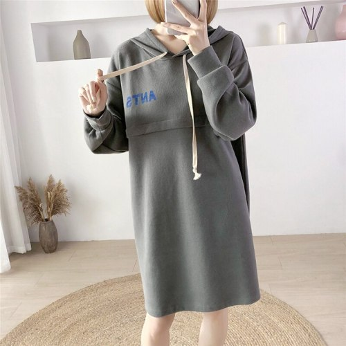 Fall Winter Hooded Sweater Cross-open Invisible Zipper Breastfeeding Clothes For Postpartum Sweatshirts Maternity Clothes