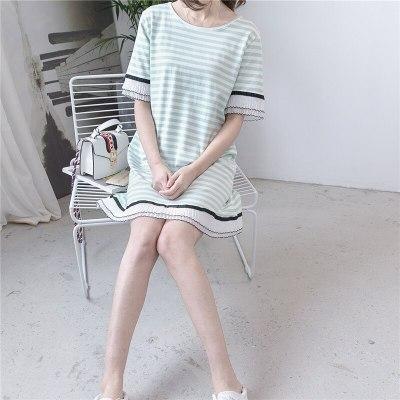 Summer Clothes For Women Plus-Size Striped Lace Long T-shirt Pregnant women Dress Short Sleeve Maternity Dress