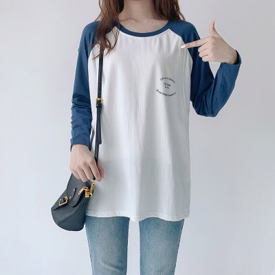 2 Color Stitching Pregnancy T shirt Plus Size Maternal Clothes Postpartum Autumn Wear Pregnancy Casual Top Maternity Clothes