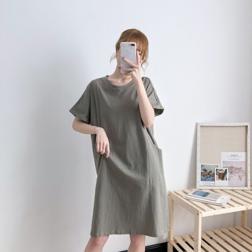 Open On Both Sides Feeding Dresses Big Pocket Solid Color Baby Shower Dress Pregnant Clothes Maternity Wear