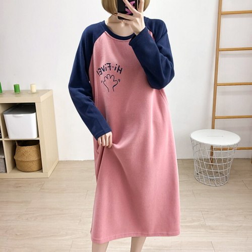 Winter Clothes For Pregnant Nursing Sweater Plus Size Hoodies Dress Long Sleeve Below The Knees Maternity Dress