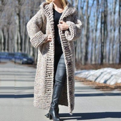Fall Winter Thick Warm Plus Size Cardigan Women Hooded Oversized Sweaters Knitted Coats Loose Long Overcoats Outwear