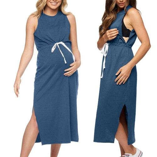 Women's Maternity Nursing Sleeveless Crew Neck Loose Breastfeeding Dress