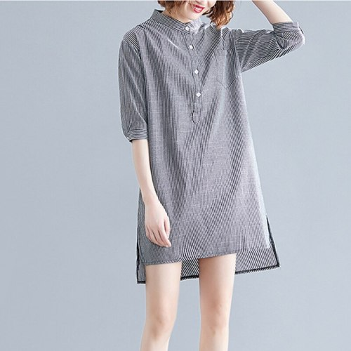 Summer Clothes For Pregnant Women Striped Half Sleeve Maternity Blouse Dress Plus Size Top Pregnancy Clothes