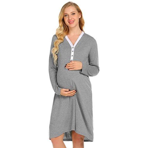 Maternity Nursing Robe Nightgowns Breastfeeding Gown Dress