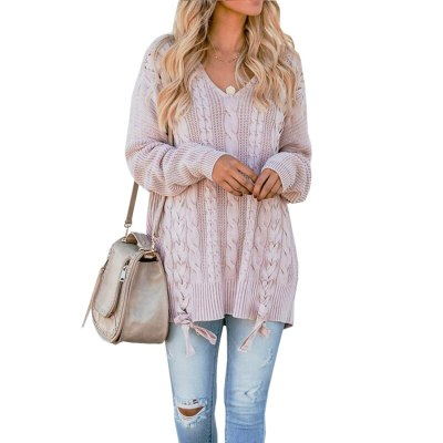 Winter V-Neck Long-sleeved Sweater Twist Knitting Tie Solid Casual Solid Sweater