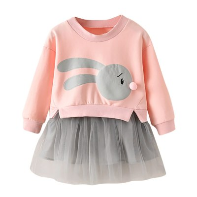 Girls Cute Cartoon Print Patchwork Tulle Party Dress