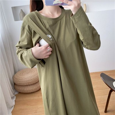 Daisy Embroidered Long Sleeve T-shirt Dresses Solid Color Breastfeeding Clothes