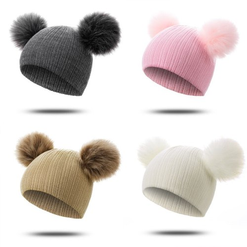 Fur Winter Warm Pompom Hat Solid Cotton Beanie Child Knitted Kids Hat