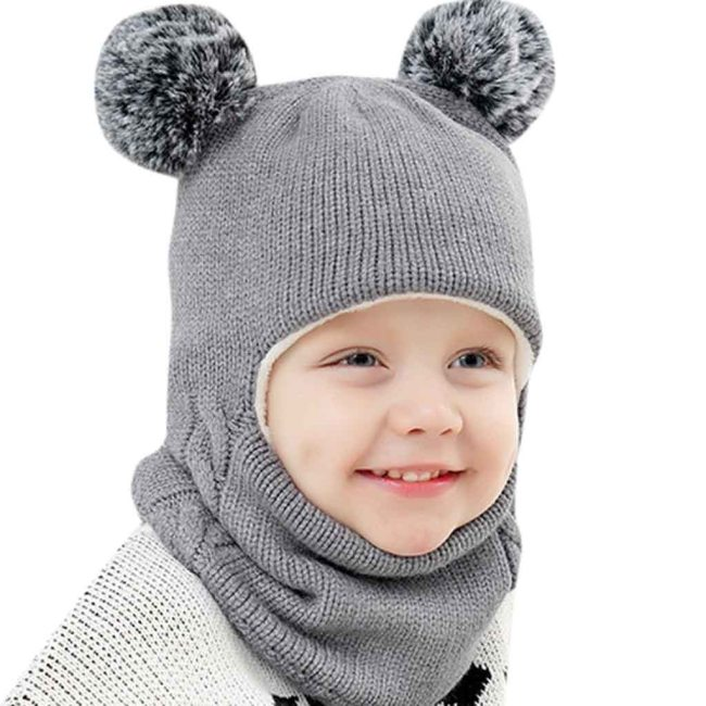 Pom Ball Hat Kids Beanies Cap Girls Boys Warm Wool Hooded Hat Baby Scarves Toddler Caps
