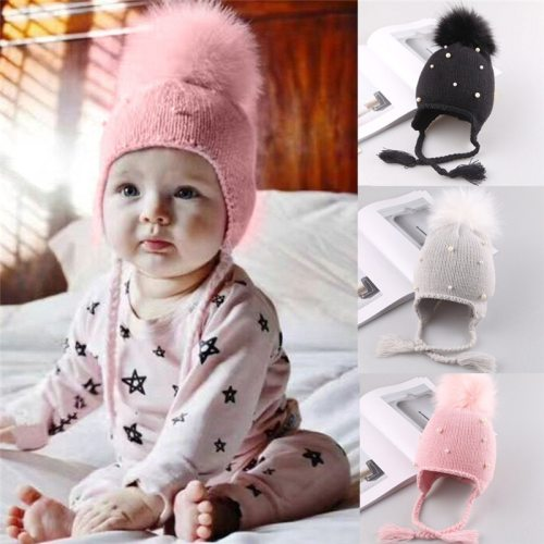 Winter Warm Newborn Infant Kids Hats Baby Girls Hats Hair Ball Earbud Pearl Crochet Hats Boys Warm Knit Caps For Girls Hats