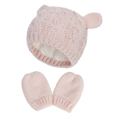 New Style Baby Knit Hat Autumn Winter Warm Hat Gloves Set