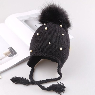 Winter Warm Newborn Infant Kids Hats Baby Girls Hats Hair Ball Earbud Pearl Crochet Hats