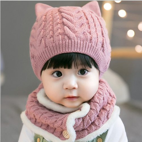 Fashion Baby Hat&Scarf 2 Pieces Winter Hat Scarf for baby Scarves Set