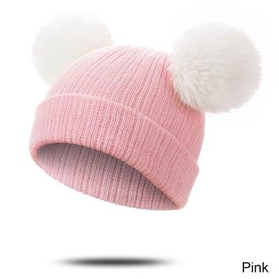Fur Winter Warm Pompom Hat Solid Cotton Beanie Child Knitted Kids Hat