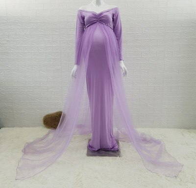 Summer Maternity Tulle Long Dresses Baby Shower Cotton Dress Stretchy Pregnancy Photography Dress with Cape