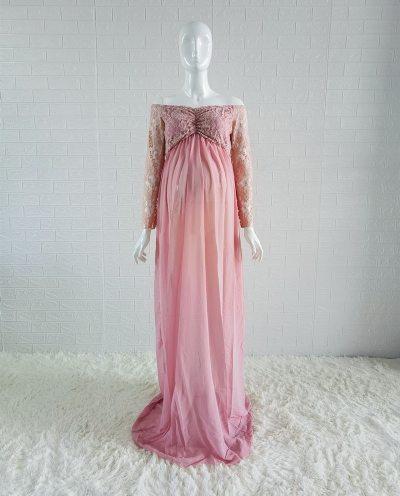 Dusty Pink Long Chiffon Maternity Photography Dress Sweet Heart Maternity Lace Dresses For Photo Shoot Slit Open Pregnancy Dress
