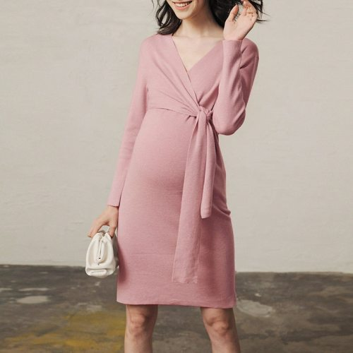 Autumn Pregnancy Dresses pink maternity dress party dress for pregnant women V-neck casual wear winter knit robe plus size belt