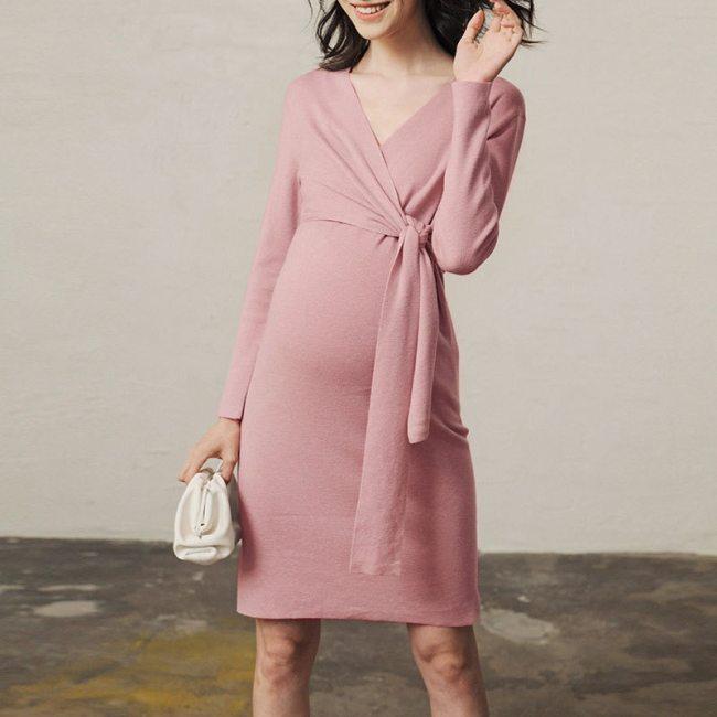 Autumn Pregnancy Dresses pink maternity dress party dress for pregnant women V-neck casual wear winter knit robe plus size belt