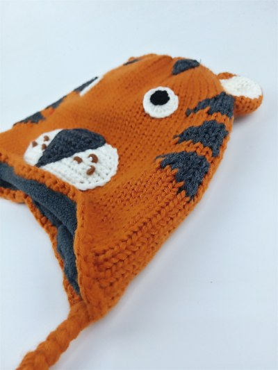 New tiger cartoon hand made knitted crochet hat for baby girl boy child children