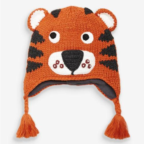 New tiger cartoon hand made knitted crochet hat for baby