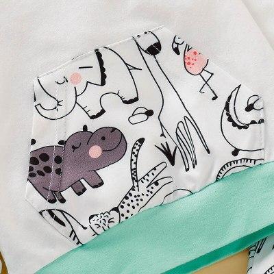 Newborn Baby Girl Sets Autumn Soft Cute Animal Print Hooded Top Pant Headband Three Pieces Sets