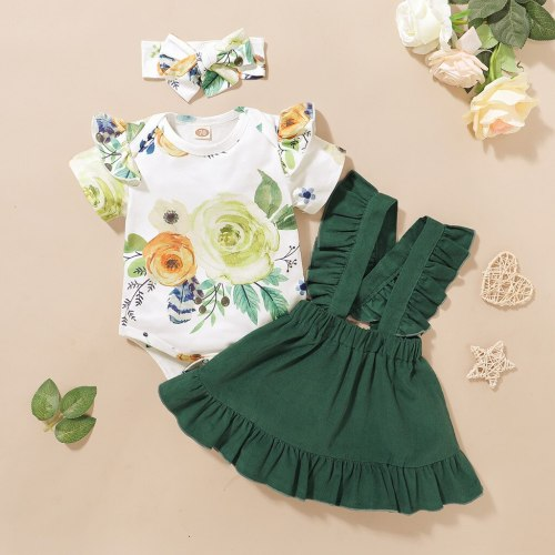 Bodysuit+Suspender Skirts Outfits kids dresses for girls