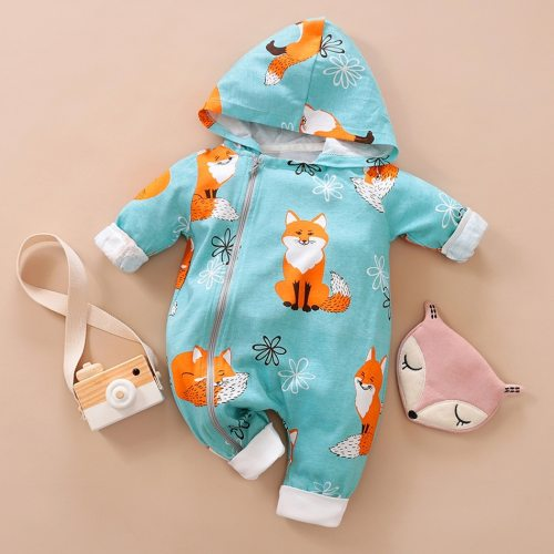 Newborn Baby Boy Girl Infant Hooded Cartoon Fox Print Romper Jumpsuit Playsuit Autumn Winter New Born Baby Clothes 0-24M